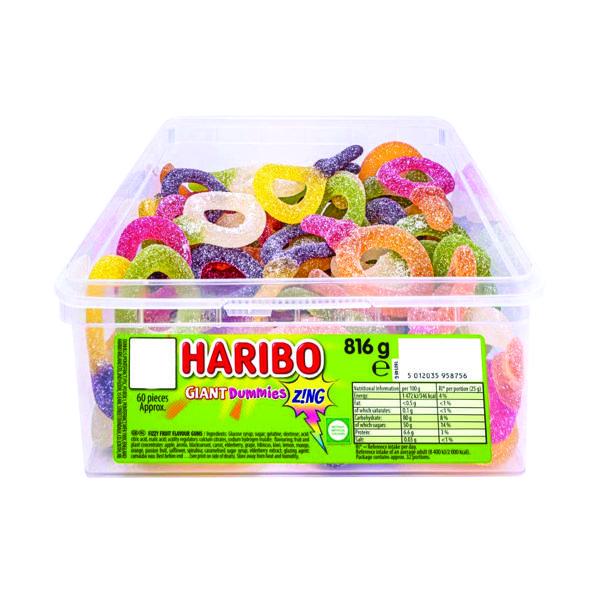 Haribo Giant Dummies Zing Tub (Approx. 60 sweets per tub) 13444