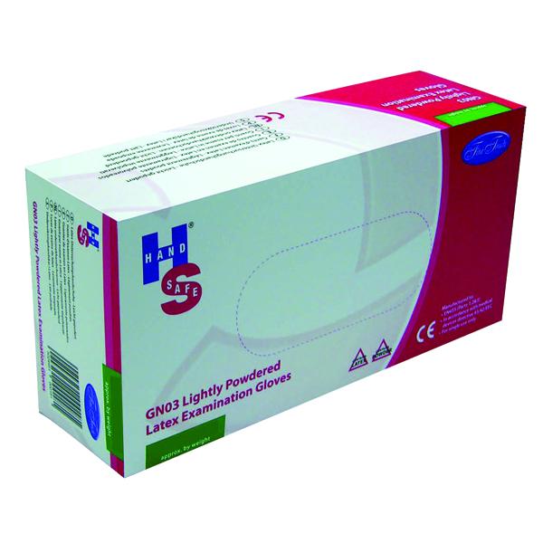 Handsafe Powdered Natural Medium Latex Gloves (Pack of 100) GN03