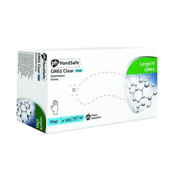Handsafe Powder-Free Clear Large Vinyl Gloves (Pack of 100) GN65