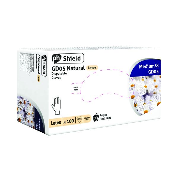 Shield Powder-Free Natural Medium Latex Gloves (Pack of 100) GD05