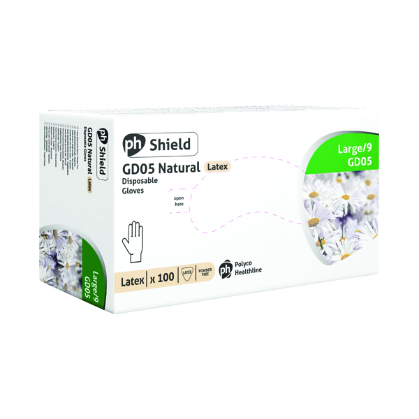Shield Powder-Free Natural Large Latex Gloves (Pack of 100) GD05