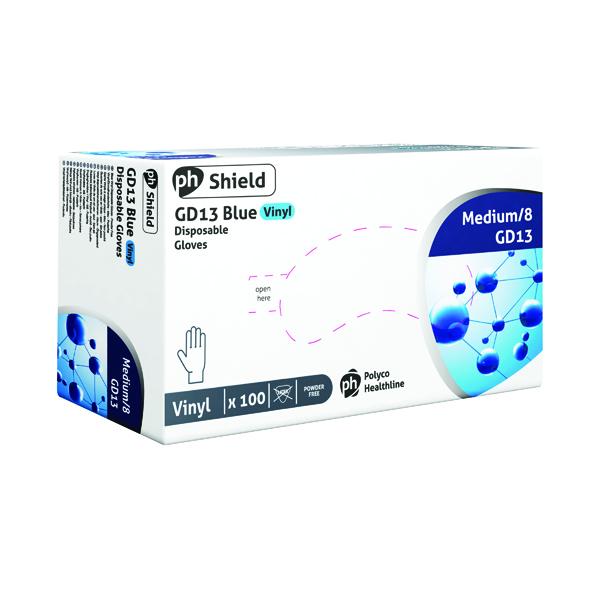 Shield Powder-Free Blue Medium Vinyl Gloves (Pack of 100) GD14