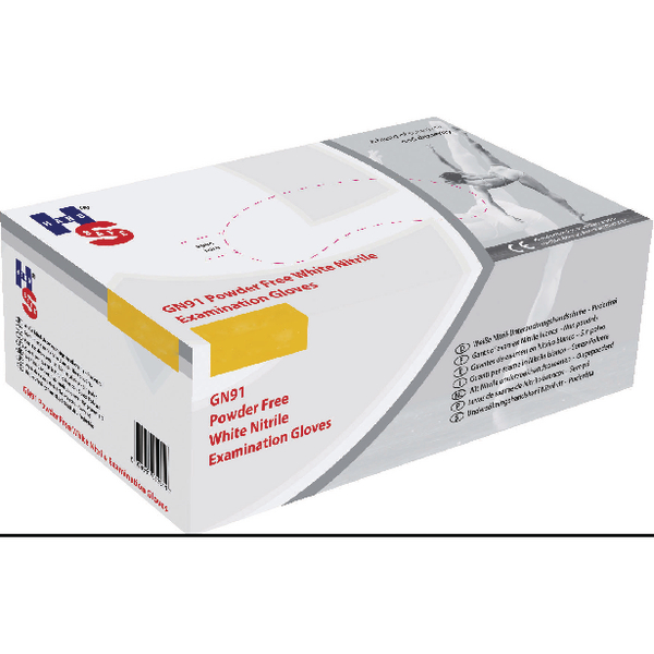 Handsafe Nitrile Powder Free Examination Gloves Small White (Pack of 2000) GN92S