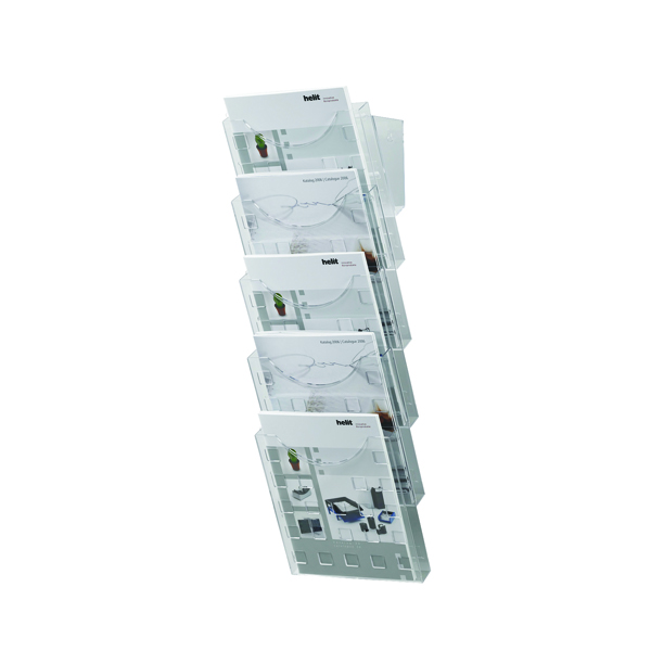Helit 5 Pocket Literature Display Unit A4 (Dimensions: 214 x 150 x 578mm) H61031