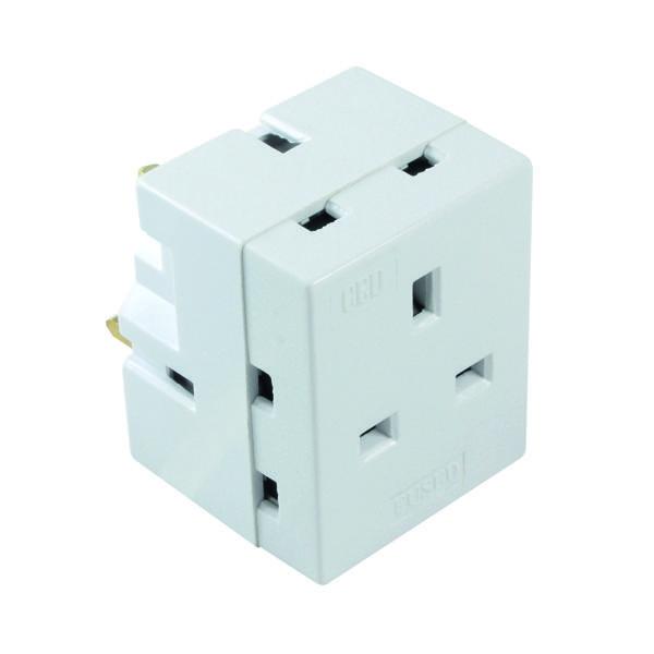 CED 3-Way Adaptor Fused 13 Amp White WAP3W