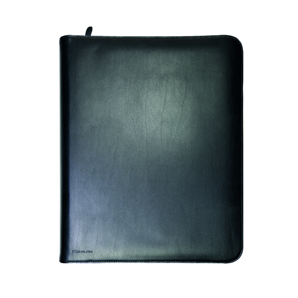 Monolith Zipped Leather Ring Binder with Internal Pockets A4 Black 2924