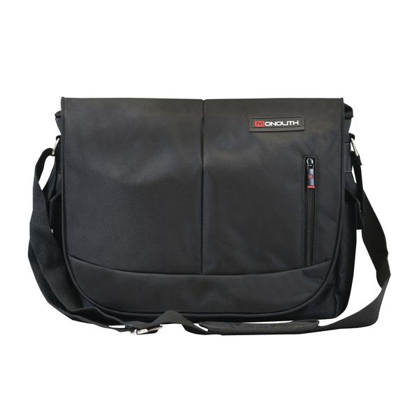 Monolith Courier Messenger Bag with Pocket for iPad, Tablet or Netbook Black 3203