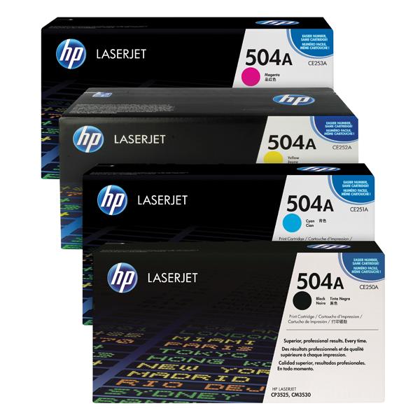 HP 504A Toner Cartridge Bundle Cyan/Magenta/Yellow/Black (Pack of 4) HP815975