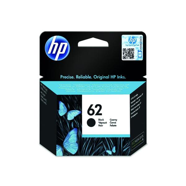 HP 62 Black Ink Cartridge (Standard Yield, 200 Page Capacity) C2P04AE