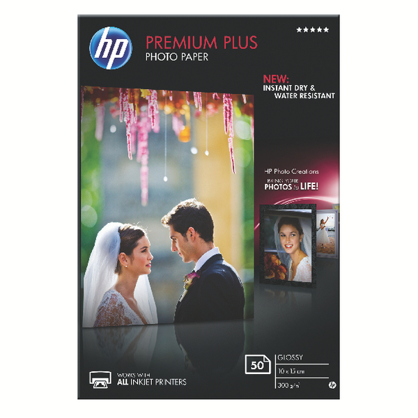 HP White 10x15cm Premium Plus Glossy Photo Paper (Pack of 50) CR695A