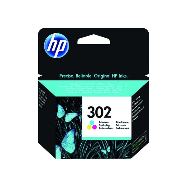 HP 302 Cyan/Magenta/Yellow Ink Cartridge (Capacity: 165 pages) F6U65AE