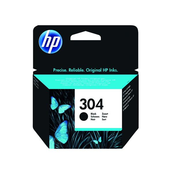 HP 304 Black Ink Cartridge (Standard Yield, 4ml, 120 Page Capacity) N9K06AE