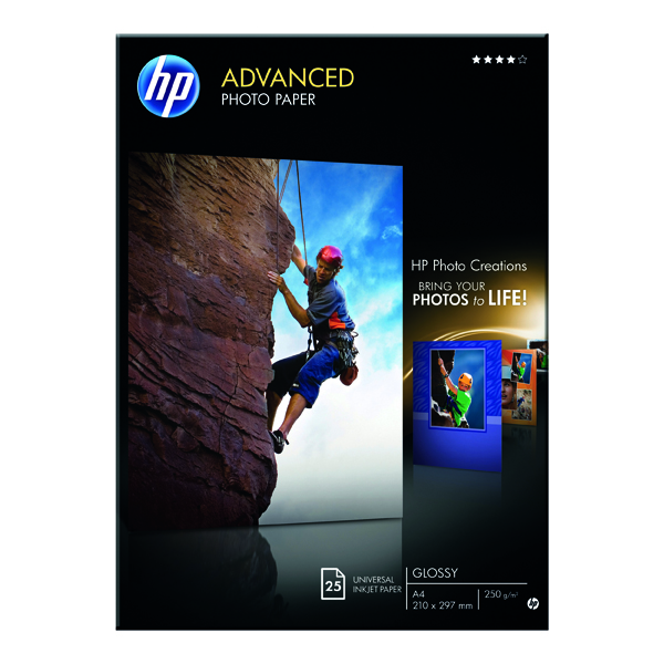 HP A4 White Advanced Glossy Photo Paper 250gsm (Pack of 25) Q5456A