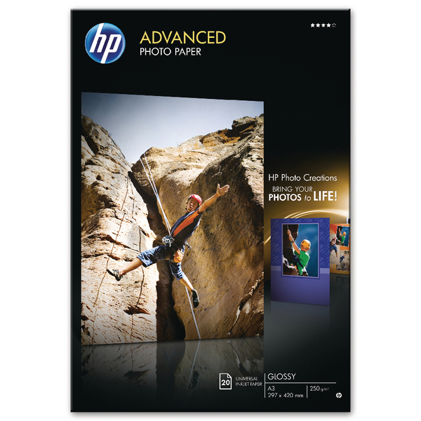 HP White A3 Advanced Glossy Photo Paper (Pack of 20) Q8697A