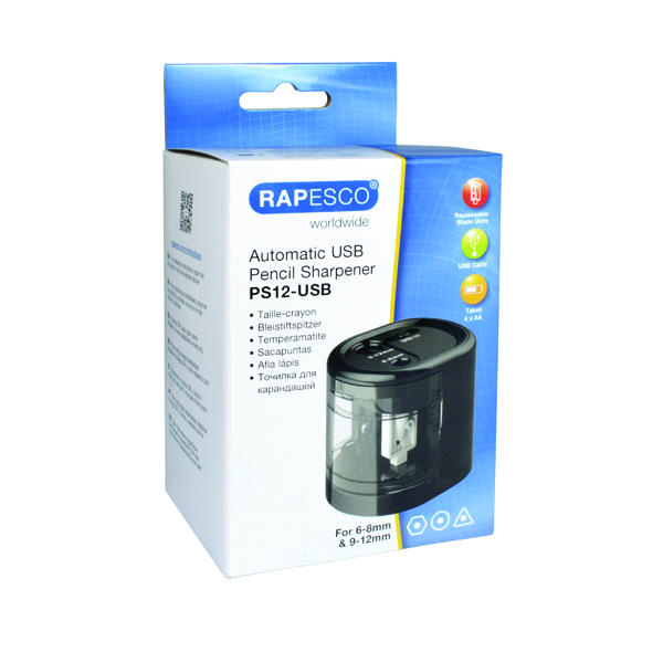 Rapesco USB Electric Pencil Sharpener Black (Dual power - USB or 4 x AA batteries) 1449