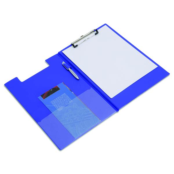 Rapesco Foldover Clipboard with Interior Pocket Foolscap Blue VFDCB0L3