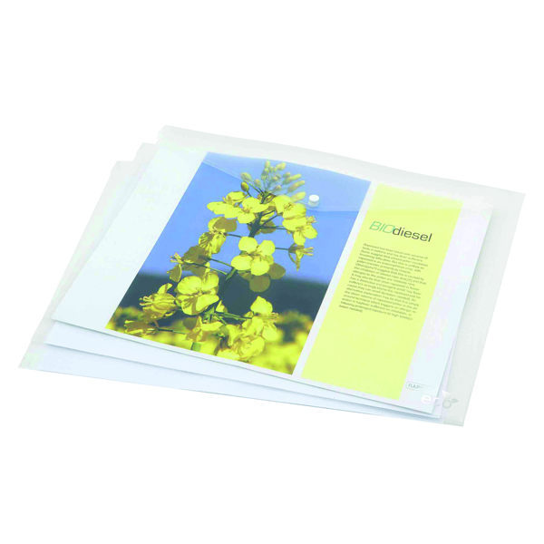 Rapesco Eco PP Popper Wallet A3 Clear (Pack of 5) 1042
