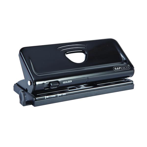 Rapesco Diary Adjustable Six-Hole Punch Black PF66POB1