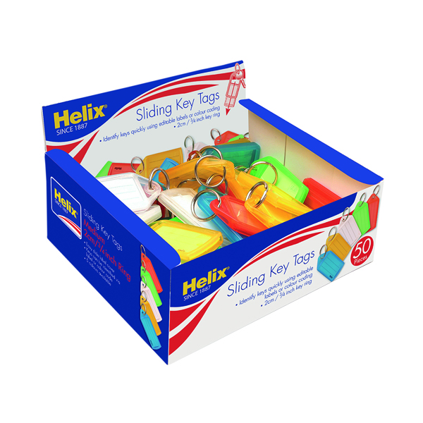 Helix Assorted Sliding Key Fobs Medium (Pack of 50) F34020