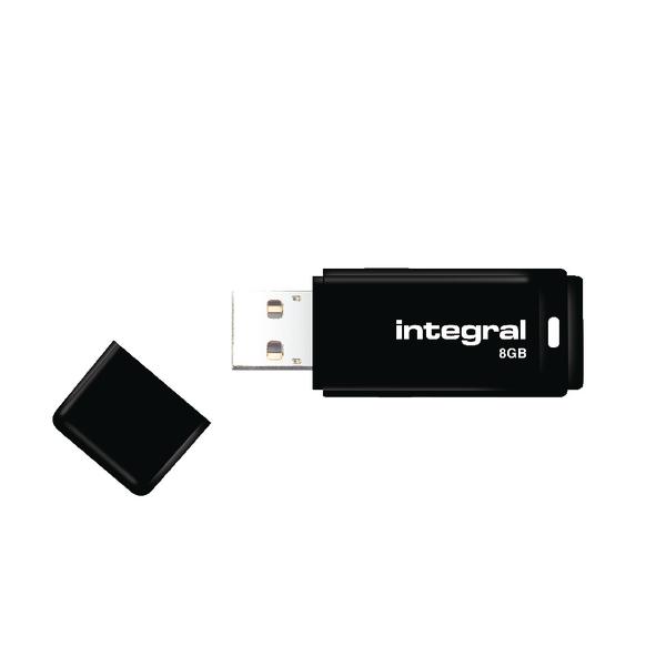 Integral Black USB 2.0 8Gb Flash Drive (Compatible with PC's and Macs) INFD8GBBLK