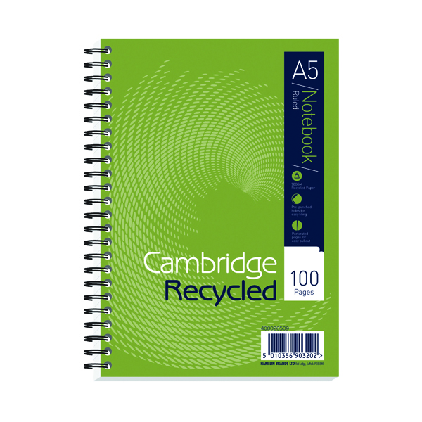 Cambridge Ruled Recycled Wirebound Notebook 100 Pages A5 (Pack of 5) 400020509