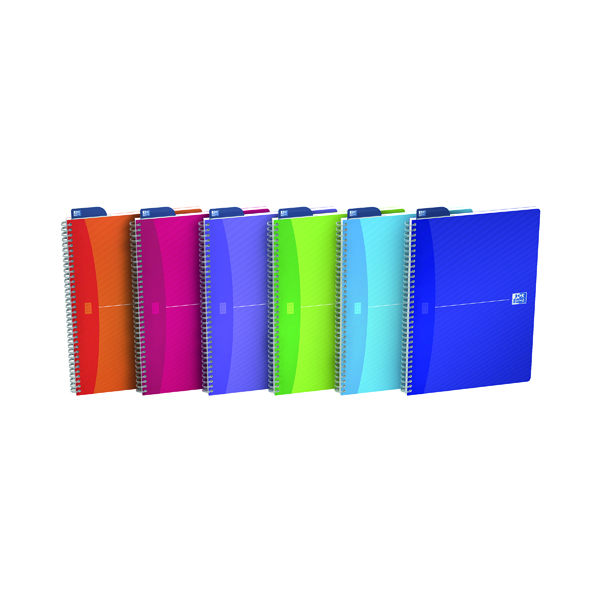 Oxford Poly Translucent Wirebound Notebook A4 Assorted (Pack of 5) 100104241