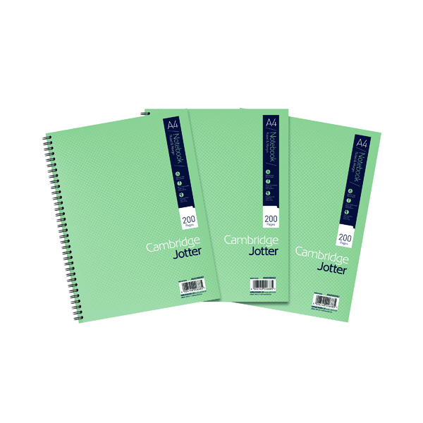 Cambridge Ruled Margin Wirebound Jotter Notebook 200 Pages A4 (Pack of 3) 400039062