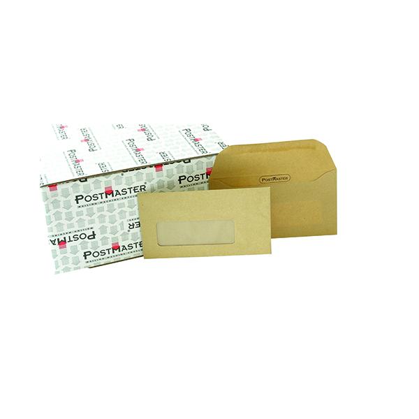 Postmaster DL Envelope 114x235mm Window Gummed 80gsm Manilla (Pack of 500) D29152