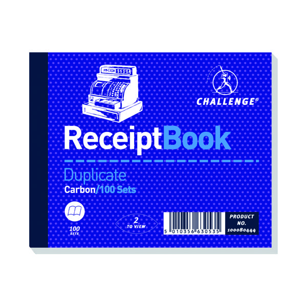 Challenge Duplicate Receipt Book 100 Sets 105x130mm (Pack of 5) 100080444