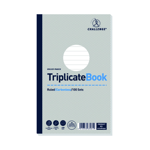 Challenge Carbonless Triplicate Book 100 Sets 210x130mm (Pack of 5) 100080445