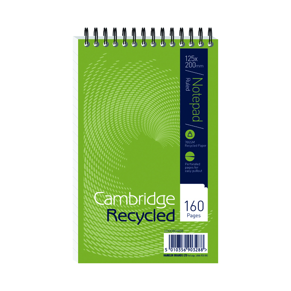 Cambridge Recycled Wirebound Reporter's Notebook 160 Pages 125 x 200mm (Pack of 10) 100080468
