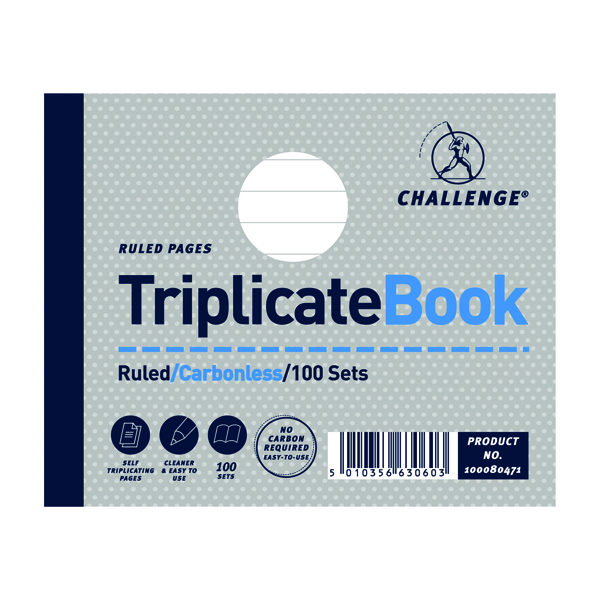 Challenge Ruled Carbonless Triplicate Book 100 Sets 105x130mm (Pack of 5) 100080471