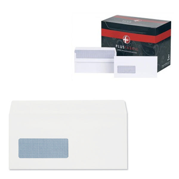 Plus Fabric DL Envelopes Window Wallet Self Seal 120gsm White (Pack of 500) J22370