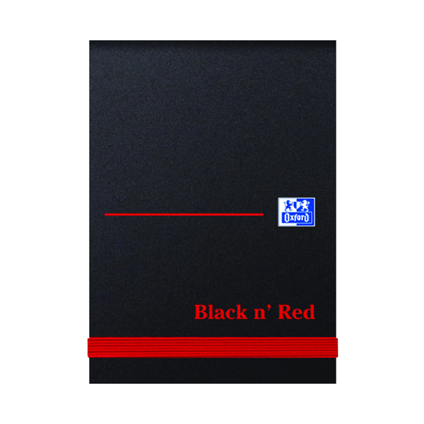Black n' Red Plain Elasticated Casebound Notebook 192 Pages A7 (Pack of 10) 100080540