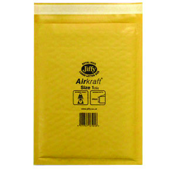 Jiffy AirKraft Bag Size 1 170x245mm Gold GO-1 (Pack of 10) MMUL04603