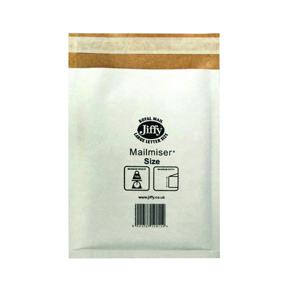 Jiffy Mailmiser Size 5 260x345mm White MM-5 (Pack of 50) JMM-WH-5