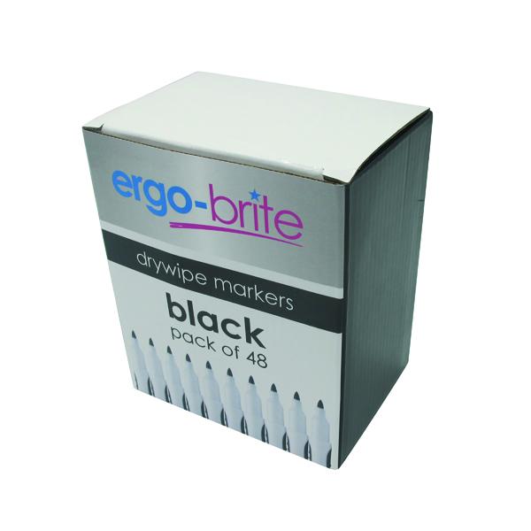 Ergo-Brite Drywipe Marker Rubber Grip Black (Pack of 48) JN10110