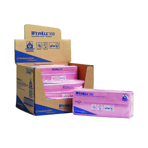 50 x Wypall X50 Cleaning Cloths Red (Made from HYRDOKNIT for excellent absorbency) 7444