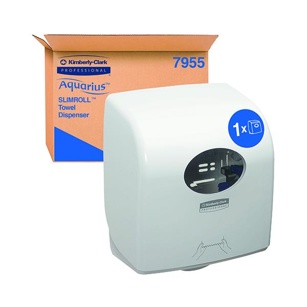 Aquarius Slimroll Rolled Hand Towel Dispenser White 7955