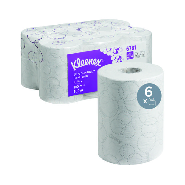 Kleenex Ultra Slimroll Hand Towel Roll White 100m (Pack of 6) 6781