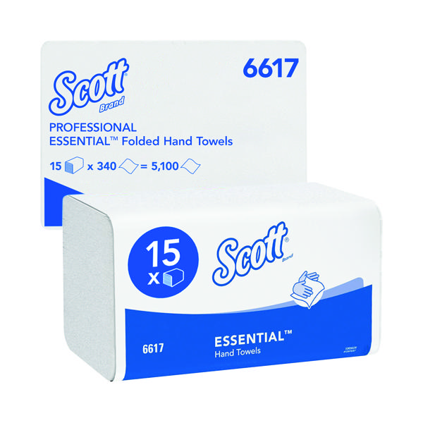 Scott Essential  Interfold Hand Towels White (Pack of 15) 6617