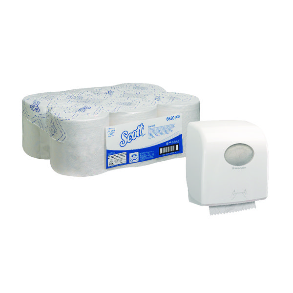 Scott Control 1Ply White Hand Towel Roll 250m (Pack of 6) FOC Aquarius Hand Towel Dispenser KC832090
