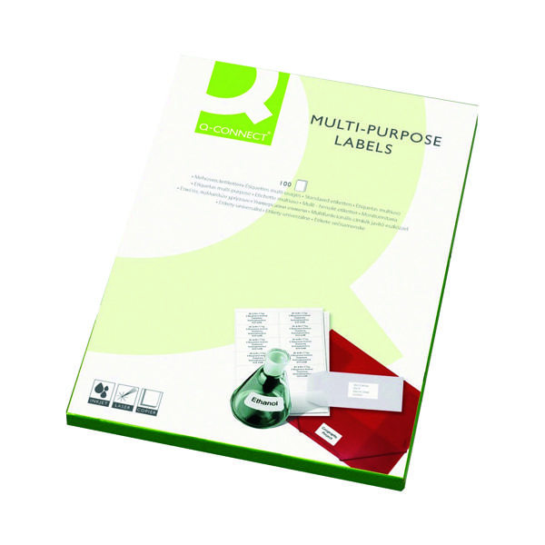 Q-Connect Multipurpose Copier Labels 105x37mm 16 Per Sheet White (Pack of 1600) KF01132