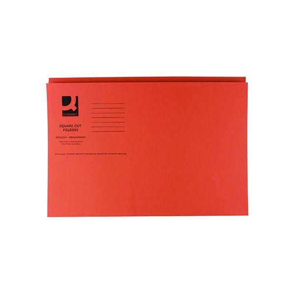 Q-Connect Square Cut Folder Mediumweight 250gsm Foolscap Orange (Pack of 100) KF01188