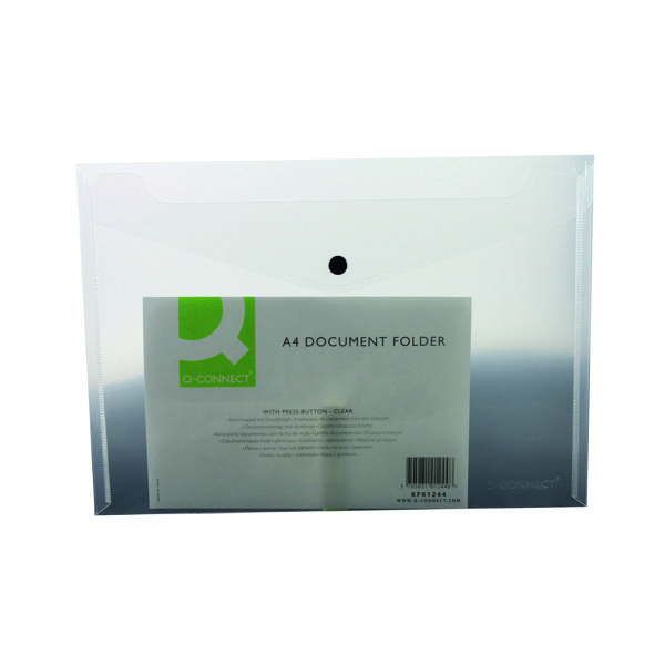 Q-Connect Polypropylene Document Folder A4 Clear (Pack of 12) KF01244Q