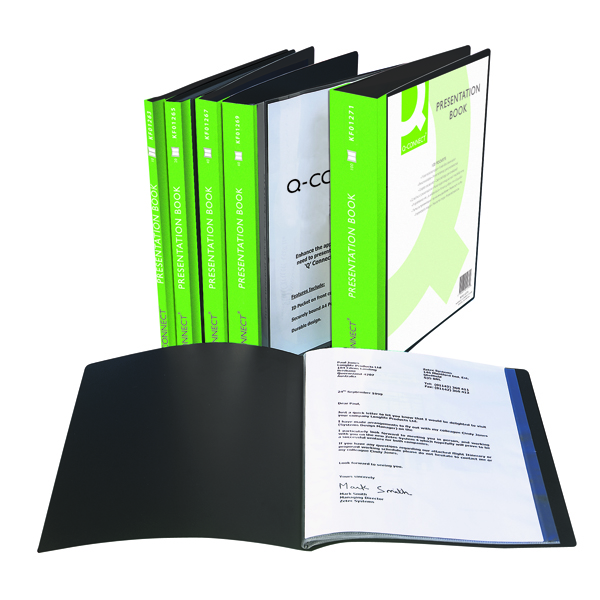 Q-Connect Presentation Display Book 10 Pocket A4 Black KF01263