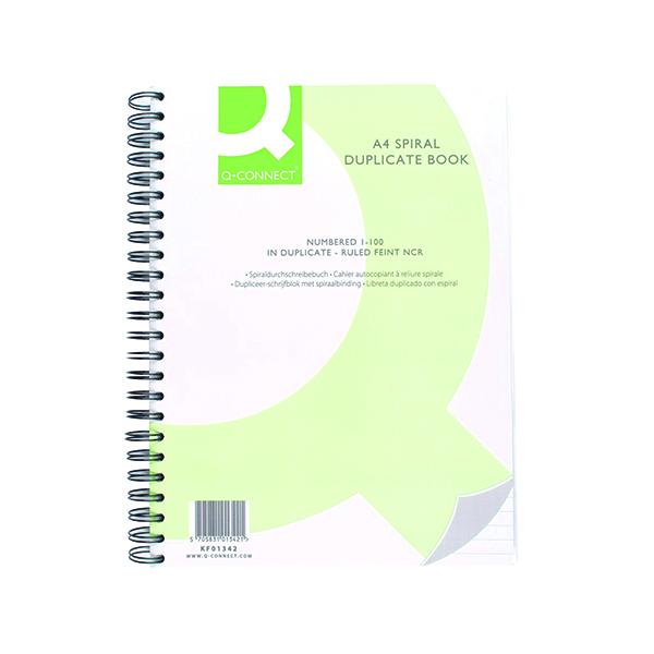 Q-Connect Feint Ruled Wirebound Duplicate Book A4 KF01342