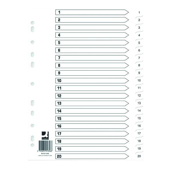 Q Connect Index 1-20 Polypropylene White (Pack of 10) KF01356Q