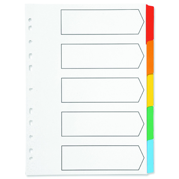 Q-Connect 5-Part Index Multi-punched Reinforced Board Multi-Colour Blank Tabs A4 White KF01525