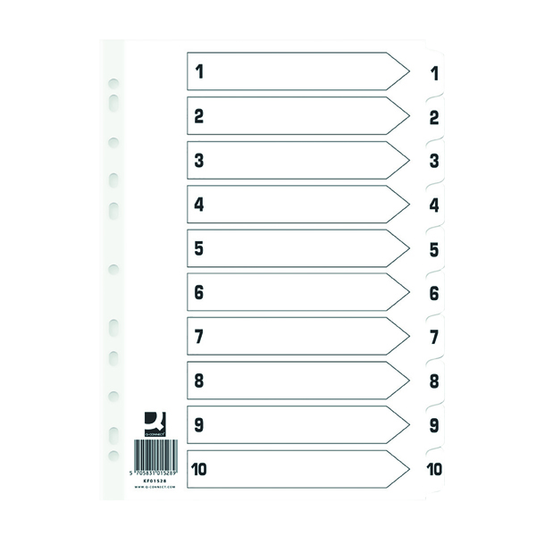 Q Connect Index 1-10 Board Reinforced White (Pack of 5) KF01528Q